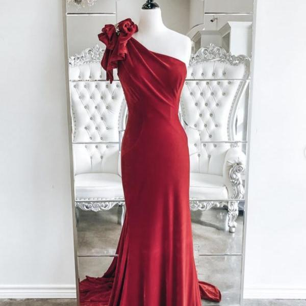 Red velvet long prom dress mermaid evening dress