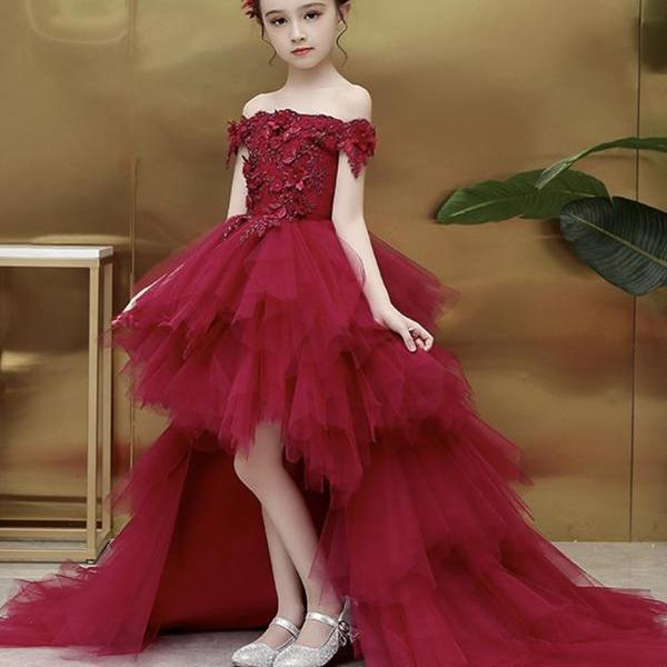 Burgundy lace A line flower girl dress party girl dress