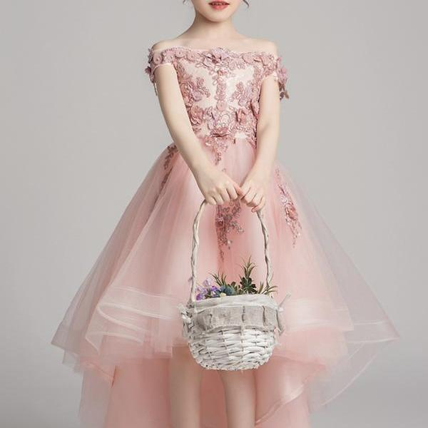 Pink lace A line flower girl dress party girl dress