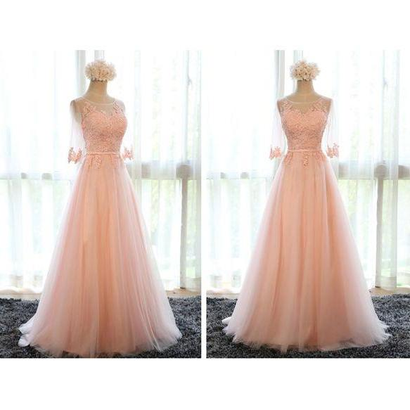 Pink prom dress,lace prom dresses,half sleeve long prom dresses,A-line tulle lace up evening dresses
