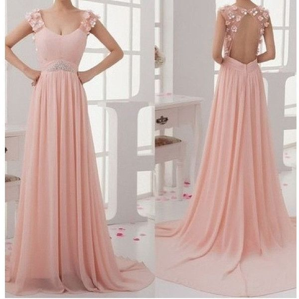 Blush pink prom dresses,charming long prom gowns,A-line backless long evening dresses,formal dresses